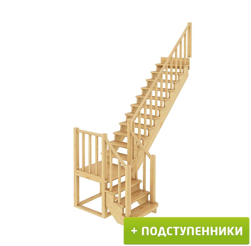 Лестница  К-022м П с подступенками сосна (7 уп)